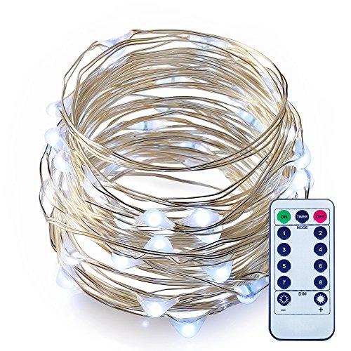 ITART Lange Lichterketten Fee Lichter Batteriebetriebene mit Fernbedienung Beleuchtung Led Sternenklar Leuchten Dimmbar Weiße Fee String Licht 50leds / 5m Silber Lichter am Seil (Lichter, Klare 10 Weißes Draht)