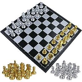 Fixget Chess Set – Scacchi in Legno e pedine Set con Portatile Pieghevole Interno di archiviaz