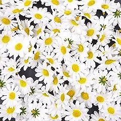 Idea Regalo - JZK 100 Margherita gerbera bianca finta fiorellini finti bomboniere coriandoli decorazione tavola matrimonio cerimonia Natale fiore artificiale corolla fiore stoffa