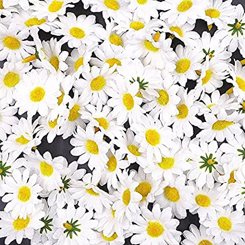 JZK® 100 x Artificial white craft daisy daisies fabric flowers