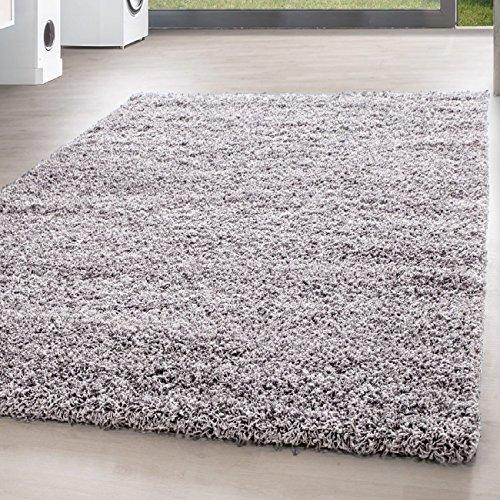 *Teppich* für Wohnzimmer günstig hochflor Shaggy Teppich mit verschiedenen Farben und Größen* Teppiche werden mit 100% PP Headset hergestellt. Gesamthöhe des Teppichs circa 30 mm. , Größe:140x200 cm, Farbe:Hellgrau