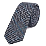 DonDon Herren Krawatte 6 cm Baumwolle grau-blau kariert