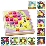 Zantec Kreatives Pilz Nägel Hölzernes Puzzle Mosaik Pegboard Pädagogisches Spielzeug für Kinder Geschenke