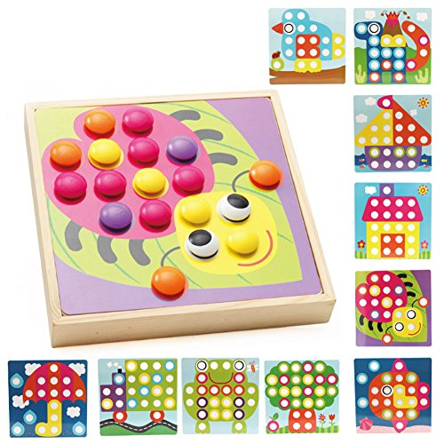 Qiyun Creative Mushroom Nails Wooden Jigsaw Puzzle Mosaic Pegboard Educational Toys for Kids Gifts