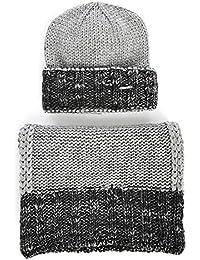 Diesel Winter Mütze Schal Set, Winter Kombination mit Stickmütze