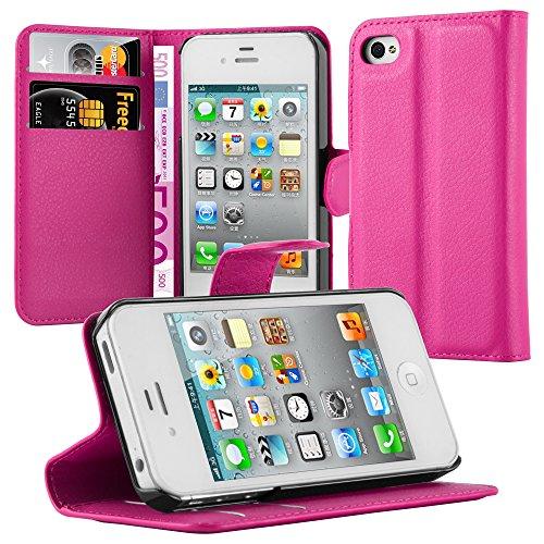 Apple iPhone 4 / 4S / 4G Hülle in VIOLETT von Cadorabo - Handy-Hülle mit Karten-Fach und Standfunktion für iPhone 4 / 4S / 4G Case Cover Schutz-hülle Etui Tasche Book Klapp Style in MANGAN-VIOLETT CHERRY-PINK