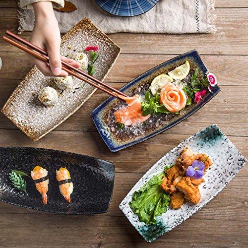 Shop piatti di ceramica di ceramica di stile giapponese creativo, posate di ristorante di specialità, piatto a forma di barca, piatto, piatto di sushi di piatto, ornamenti decorativi piccolo piatto ( colore : ink stone )