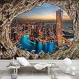 3D Wallpaper Höhle Steinmauer Stadt Nacht 3D Stereo Tapeten Tv Sofa Wohnzimmer Hintergrund Wanddekoration, 200 × 150 Cm