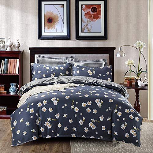 WFBZ Bettbezug und Kissenbezug mit Reißverschluss Weich und bequem 3 Teilig Kleine Daisy Imitation Baumwolle dreiteilig (200 x 200 cm) - Daisy-duvet-set