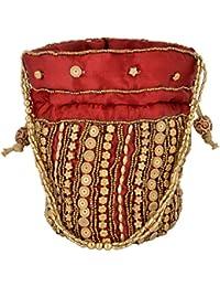 Hanumant Creations Traditional Rajasthani Handicraft Potli Bag, Red, HCHB011
