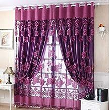 Tongshi 250 cm * 100 cm de la impresión floral de la gasa de la cortina de puerta ventana de la habitación de la bufanda de la cortina del tabique (Púrpura)