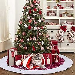 AerWo 48Inch Velvet Snowflake árbol de Navidad Falda 2018 Año Nuevo Decoración de Navidad