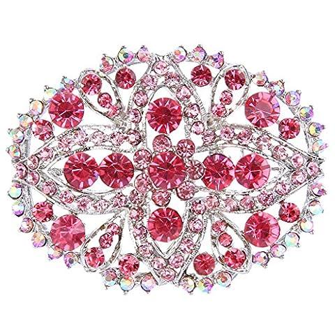 EVER FAITH® Femme Cristal Autrichien Mariage Floral Larme Creux Broche