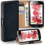 OneFlow Tasche für Samsung Galaxy Ace 2 Hülle Cover mit Kartenfächern | Flip Case Etui Handyhülle zum Aufklappen | Handytasche Schutzhülle Zubehör Handy Schutz Bumper in Schwarz