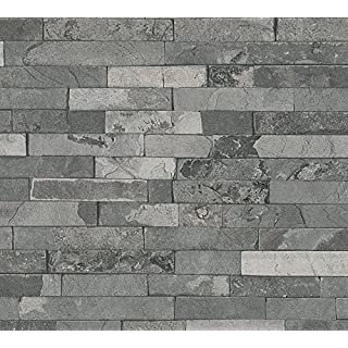 A.S. Creation 35582-4 Best of Wood and Stone Realistic Brick Design Wallpaper, Dark Grey