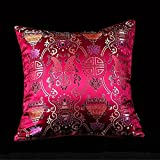 LORENZO CANA - Home Edition Kissenhülle Kissenbezug aus Seidenbrokat Seide Damast Rot Beere - 96003