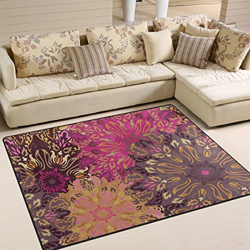 """Yibaihe - Alfombra para salón, dormitorio o patio (160 x 122 cm), diseño de mandala floral vintage con estampado de grandes áreas, antideslizante, antiestática, resistente al agua, 100% poliéster, multicolor, 203 x 147 cm (6'8"""" x 4'10"""")"""