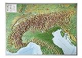 Alpen 1:1.2MIO ohne Rahmen: Reliefkarte vom Alpenbogen (Tiefgezogenes Kunststoffrelief) -