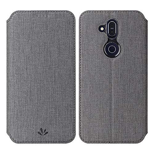 Feitenn Nokia 8.1 Hülle, Premium PU Leder Tasche Wallet Flip Case Schutzhülle mit Kartenfächer Standfunktion PU Cover TPU Bumper Magnetisch Stand Cover Case für Nokia 8.1, (Nokia 8.1, grau)