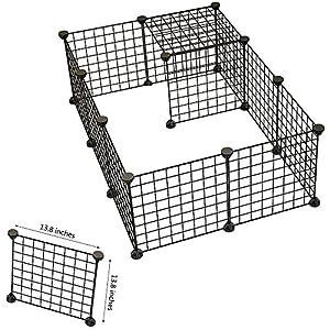 Chien Animal Parc Portable Grande en fil métal cour Clôture 12Panneaux-Noir-pour lapin, cochon d'inde ou n'importe quel autre Cage pour petits animaux
