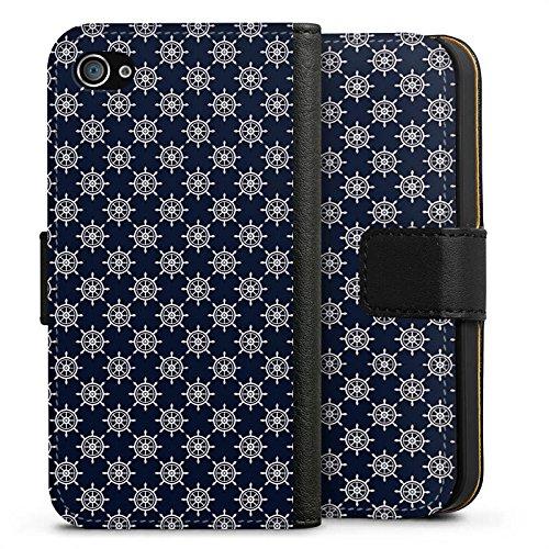 Apple iPhone X Silikon Hülle Case Schutzhülle Steuerrad Muster Matrose Sideflip Tasche schwarz