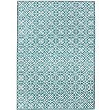 Crystal Art 2teilige waschbar Teppich System Floral Fliesen Aqua Blau & Weiß