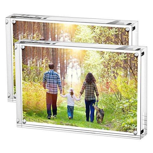Paquete de 2 marcos de fotos de acrílico, soporte con imanes, capacidad para 7 x 5 pulgadas, grosor de 10 mm + 10 mm transparente por Boxalls