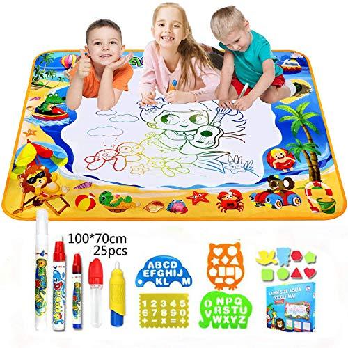 OUNDEAL Agua Dibujo Pintura, Esteras de Agua Doodle 100cm x 70cm Pizarra Mágicas con 5 Magic Pens + 8 Plantillas de EVA + 4 moldes Juguetes niños 2, 3, 4, 5, 6 Años