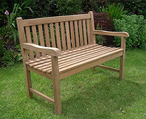 4ft 120cms Chunky Teak 2 Seat Garden Park Bench Java Garden Furniture For Your Patio