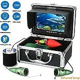HONGSHENG 15M 1000TVL Equipo de cámara de Video para Pesca submarina 6 Luces de lámpara infrarroja con Monitor de Color de 7 Pulgadas