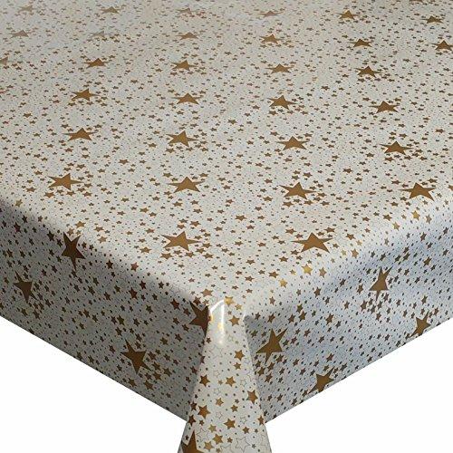 Wachstuch LureX Sterne Himmel Gold Weihnachten Breite & Länge wählbar abwaschbare Tischdecke 130 x...
