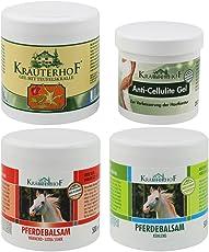 Kräuterhof Balsamo di cavallo riscaldante, artiglio del diavolo, gel anticellulite, balsamo di cavallo rinfrescante 4 confezioni