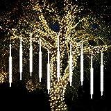 Vcall Meteor Dusche Regen Tropfen Lichter 50cm 10 Spiral Tubes 540 LEDs Wasserdichte Schnee Fallen Eiszapfen Outdoor 18W Cascading Lichterketten für Garten Party Hochzeit Weihnachtsbaum Terrasse Unterstützung 2 Sets verbunden(Weiß)