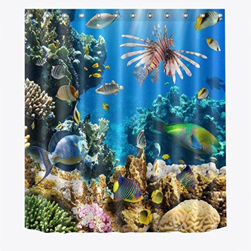 KKY-ENTER Einfache Mode 3D Stereoscopic Ocean Weltform Bad Duschvorhänge Wasserdicht und Schimmel Polyester Duschvorhänge ( größe : 150*180cm (Frei Halloween Grafiken)