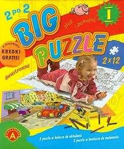 Big puzzle I do kolorowania 2x12: w opakowaniu kredki gratis!