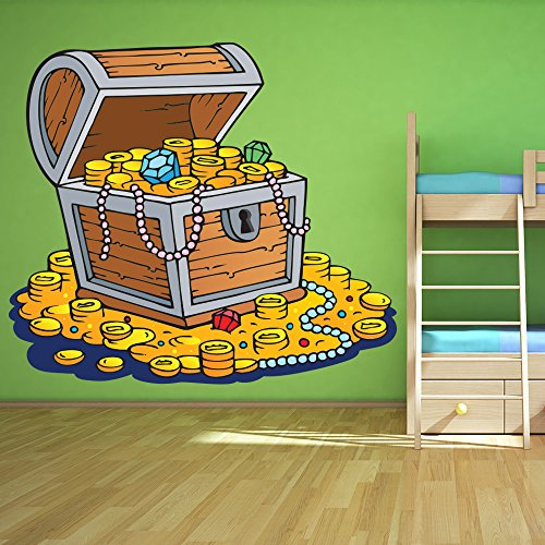 treasure-chest-e-monete-doro-pirate-colore-wall-sticker-bambini-decalcomanie-art-decor-disponibile-i