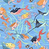 Mermaid Stoffe–Meerjungfrauen Schwimmen Blau–nu140–0,5Meterware–von Nutex–100% Baumwolle (Meerjungfrauen Schwimmen Blau nu140)