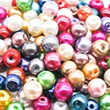 100 Mixed Colour Pearl Glass Beads - 6mm