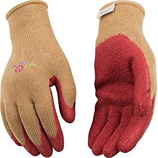 Kinco 1791W Latex Coated Women's Gripping Glove, Work, Large, Dark Pink (Pack of 12 Pairs)
