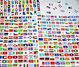 242 Autocollants différents Pays Îles & Territoires du monde 10 x 15 mm en vinyle autocollant.