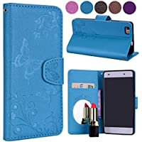 Wallet Case for Huawei P8 Lite,Floral Case for Huawei P8 Lite,Leeook Elegant Pretty Embossed Flower Butterfly Design Magnetic Closure Bookstyle Soft Inner Pu Leather Stand Wrist Strap Flip Case Cover with Card Slots and Makeup Mirror for Huawei P8 Lite + 1 x Black Stylus-Butterfly,Blue