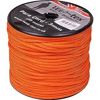 Web Tex 3mm Day Glow Neon Orange Para Kordel 100m Rolle Ideal für Camping, Survival Kit, Pascha-, Zelt, Zelt Bivi, Airsoft, Bushcraft etc.