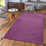 Handwebteppich Wohnzimmer Natur Webteppich Kelim Modern Baumwolle In Lila, Größe:80x150 cm