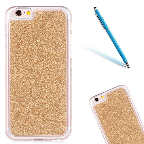 """Translucide Cover avec Kickstand Ring pour Apple iPhone 5G/5s/SE 4.0"""", CLTPY Soft Gomme Shell dans Scintillate Glint Motif Antipoussière Anti-rayures Ultra Mince Léger Fit pour iPhone 5G,iPhone 5s,iPh Gold"""