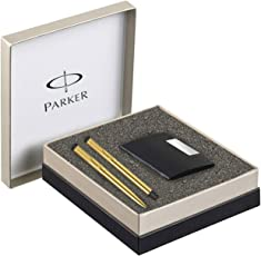 Parker Vector Gold Trim Roller Ball Pen and Ball Pen Luxury Gift Set, Blue Ink