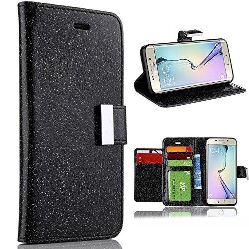 Für Samsung Galaxy S7 Edge Hülle, Galaxy S7 Edge Brieftasche, LCHULLE Luxus Glänzend Funkeln Bling PU-Leder [Magnetverschluss] [Metallschnalle] Flip Folio Ständer Brieftasche Schutzhülle mit 6 Kartensteckplätze-Schwarz