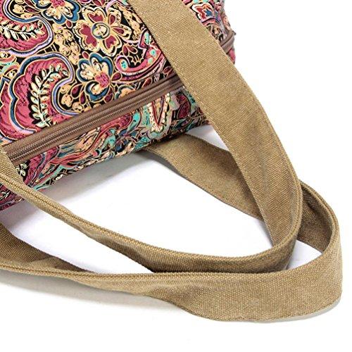 Chang Spent Borsa da viaggio borsa Tote Borsa Messenger bag borsa a tracolla tela donna , brown Brown