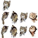 Hpamba 3D Katten Zelfklevende Koelkast Verwijderbare Kleuterschool Kat Muursticker 3D Verwijderbare Stickers voor Autoruit 3D