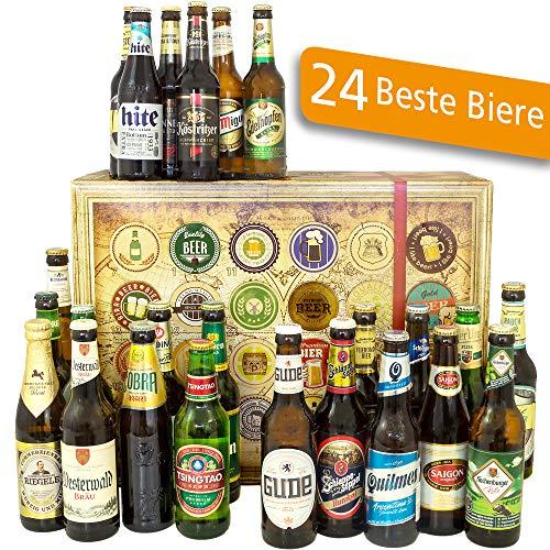 24x Biere aus aller Welt + Deutschland | Inkl. Bier Geschenkverpackung + Geschenk Karten Set + Bierbewertungsbogen | Geburtstagsgeschenk in Bierbox Bier Pilsner Set