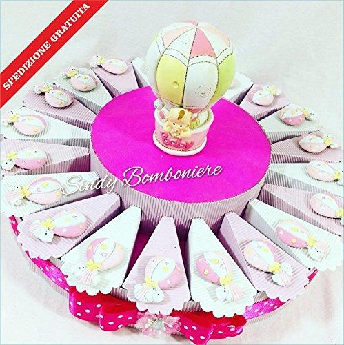 Bomboniere originali solidali amref per bimba femminuccia con mongolfiere animaletti battesimo nascita spedizione gratuita (torta da 20 fette)